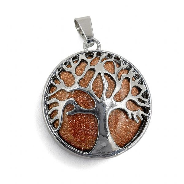 Rhodium Plated Goldstone Tree of Life Pendant 27mm x 31mm